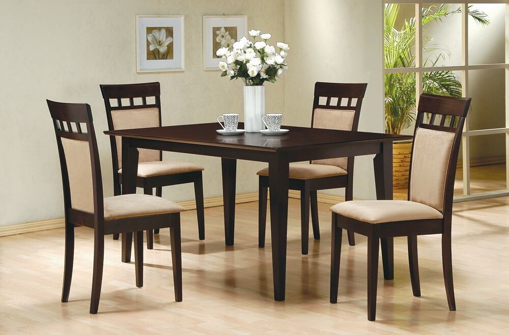 5 pc chicago ii collection espresso finish wood rectangular top dining table set