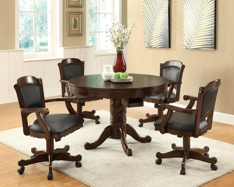 100871-72 5 pc raelle tobacco finish wood three in one game table , dining, poker , bumper pool