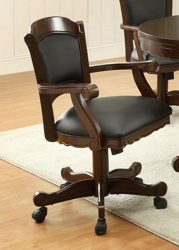 Gameroom / Poker chair tobacco finish wood and black leatherette upholstered swivel chair with casters