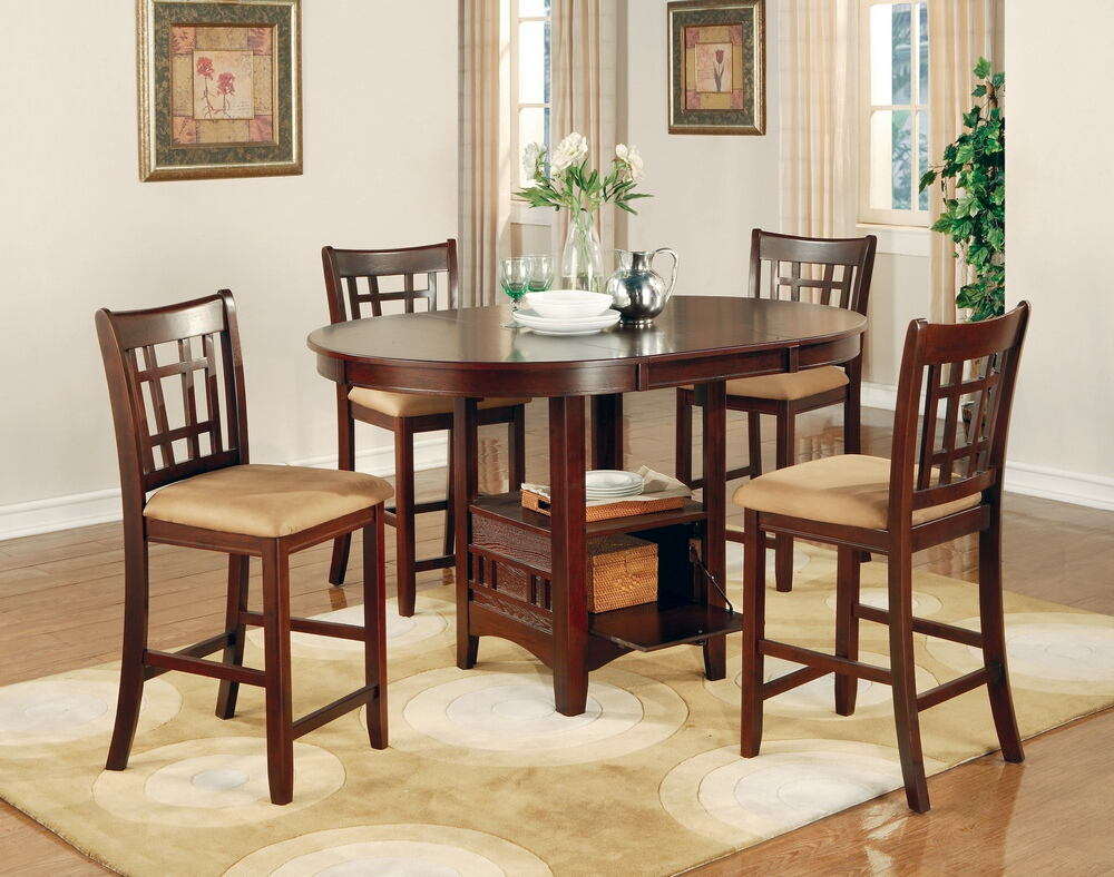 5 pc lavon collection cherry finish wood oval top counter height dining table set with leaf. Interior Design Ideas. Home Design Ideas