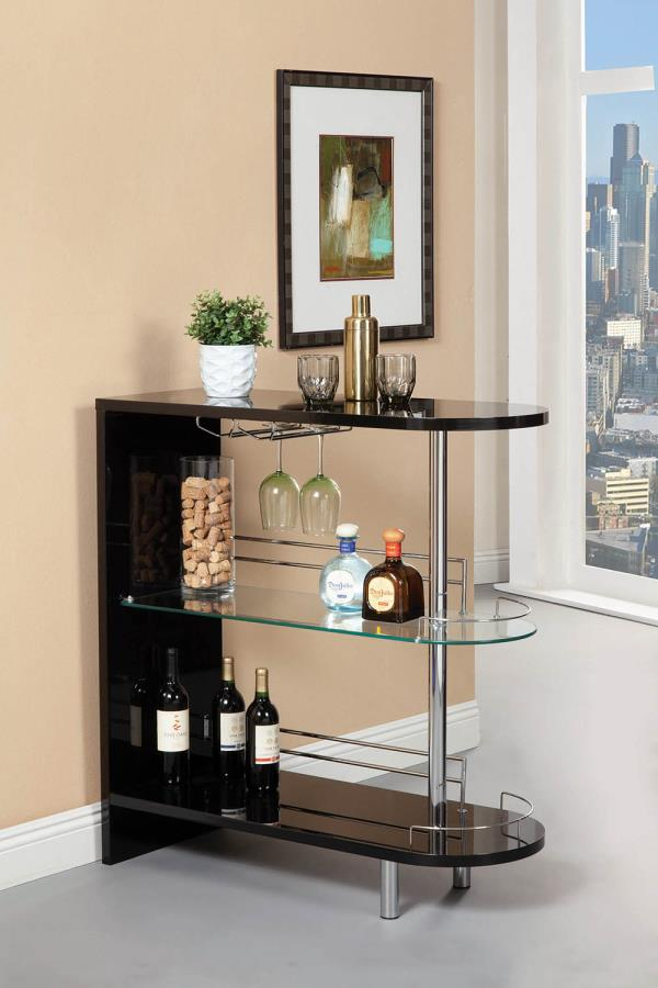 101063 Wildon home modern style black high gloss finish bar unit with tempered glass shelves
