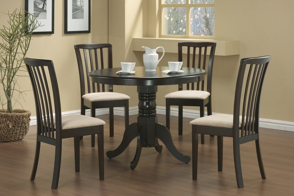 5 pc brannan collection espresso finish wood mission style design upholstered seats dining table set