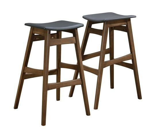 101437 Set of 2 cathryn styles walnut finish wood bar stools with curved seats