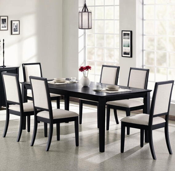 "7 pc lexton distressed black wood finish rectangular dining table set with 18"" leaf"