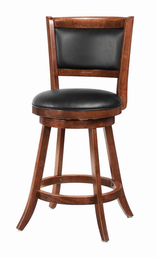 101919 Set of 2 Walcott chestnut finish wood counter height swivel barstool with back