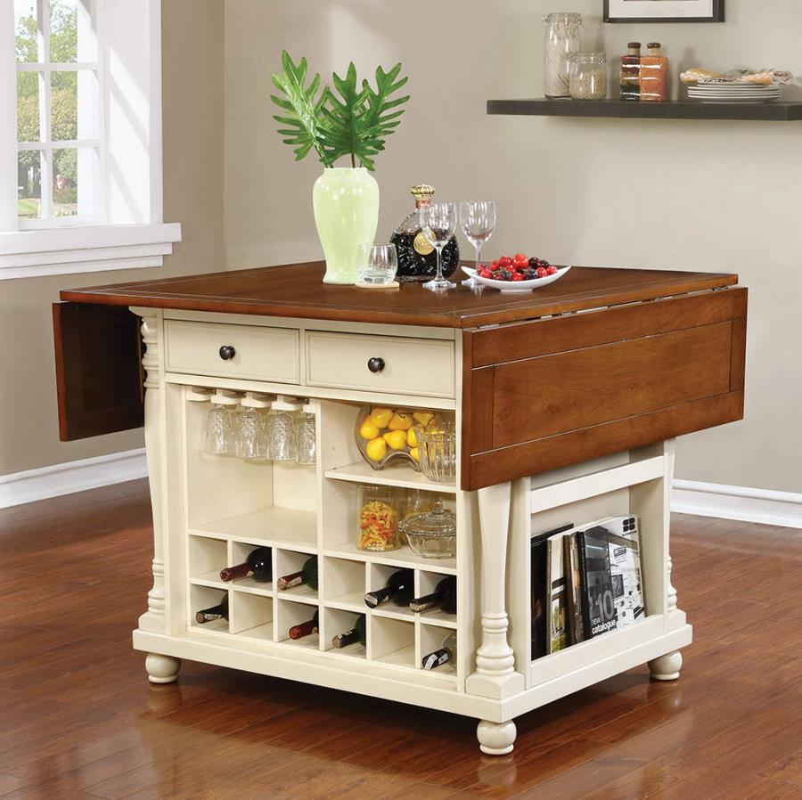 102271 Canora grey petersburg villanova martha antique country style buttermilk cherry finish wood drop leaf top large kitchen storage island