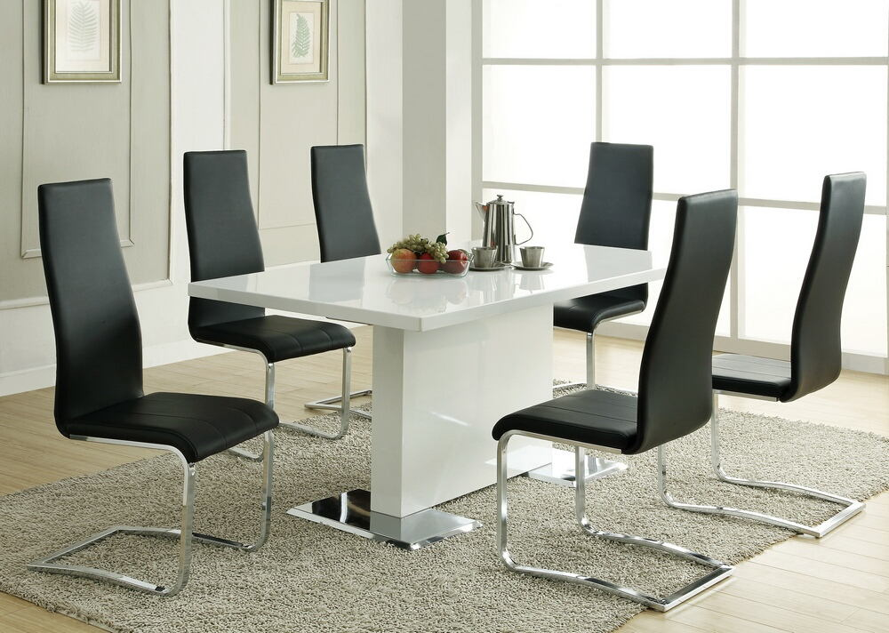 102310 100515blk 5 Pc Nameth Modern White High Gloss Finish Pedestal Base Dining Table Set
