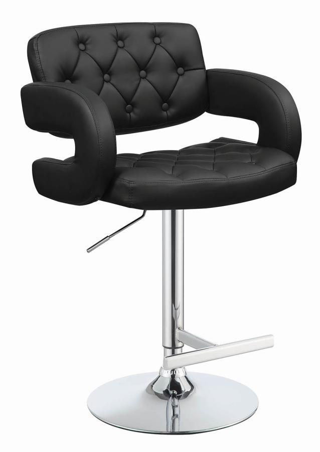 102555 Black faux leather adjustable height bar stool chrome base