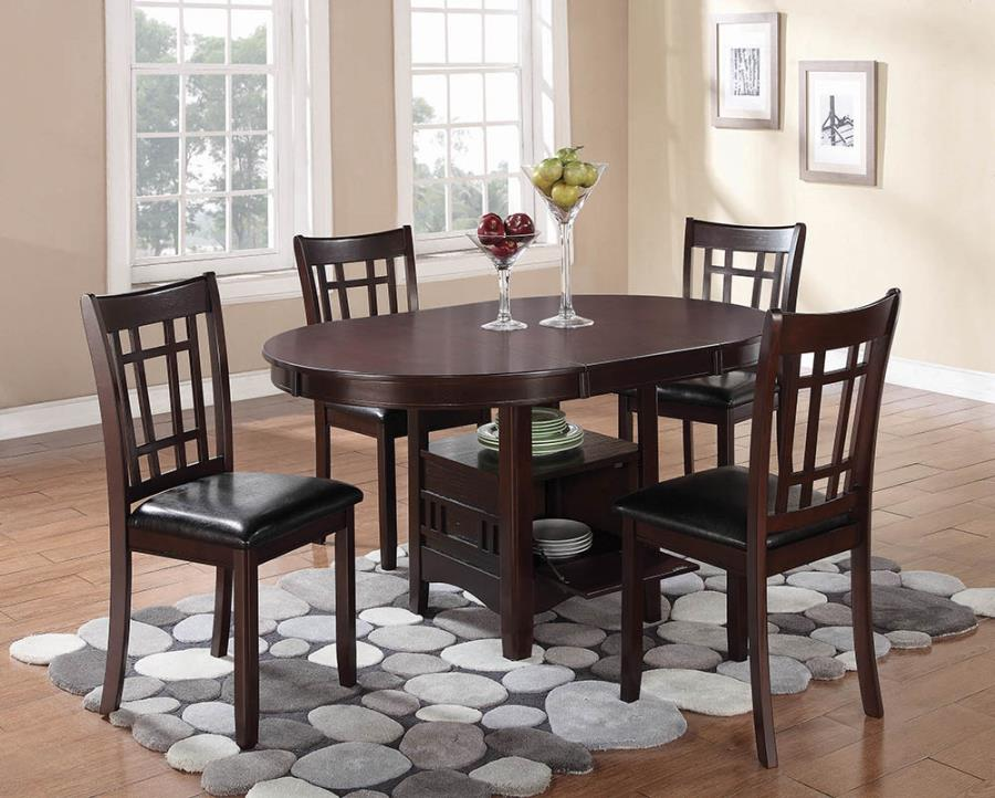 "102671 5 pc Gray barn bracken hill espresso finish wood 42"" round / oval dining table set with shelf"