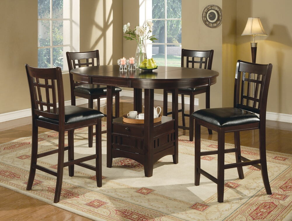 5 pc lavon ii collection espresso finish wood oval top counter height dining table set with leaf