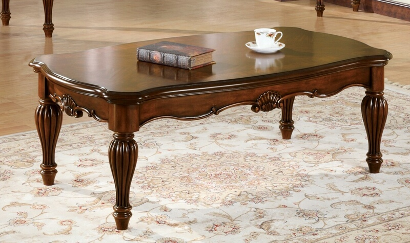 Acme 10290 Astoria grand wansley dreena cherry finish wood carved accents coffee table