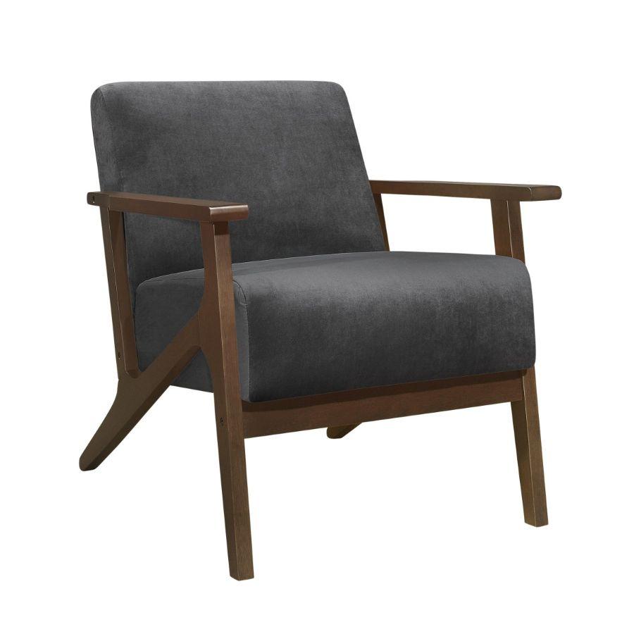 Homelegance 1031DG-1 August mid century modern dark gray velvet fabric accent chair