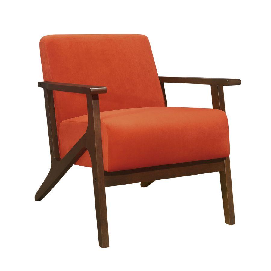 Homelegance 1031RN-1 August mid century modern orange velvet fabric accent chair