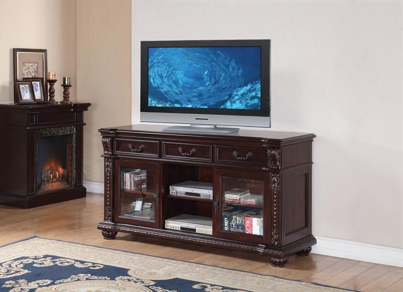Acme 10321 Fleur de lis living cottingham anondale cherry finish wood tv stand glass front doors