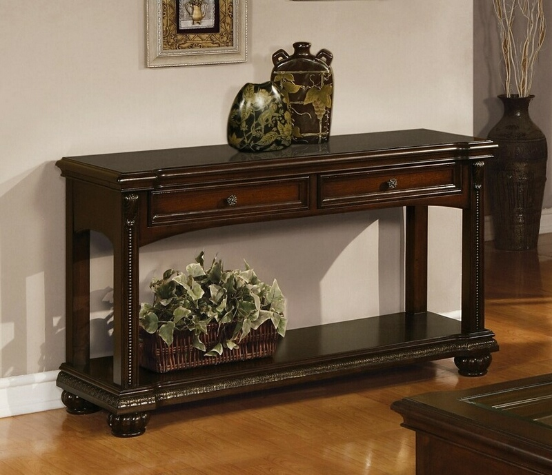 Acme 10324 A&J Homes studio anondale cherry finish wood sofa entry console table with drawers
