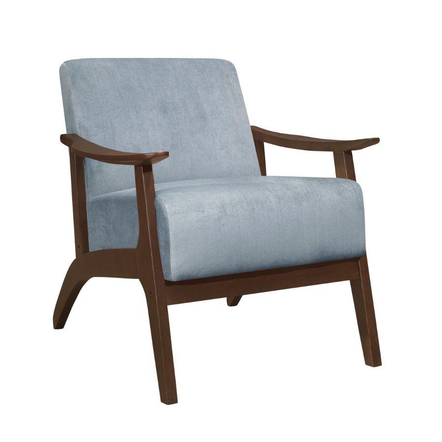 Homelegance 1032BGY-1 Carlson mid century modern blue gray velvet fabric accent chair