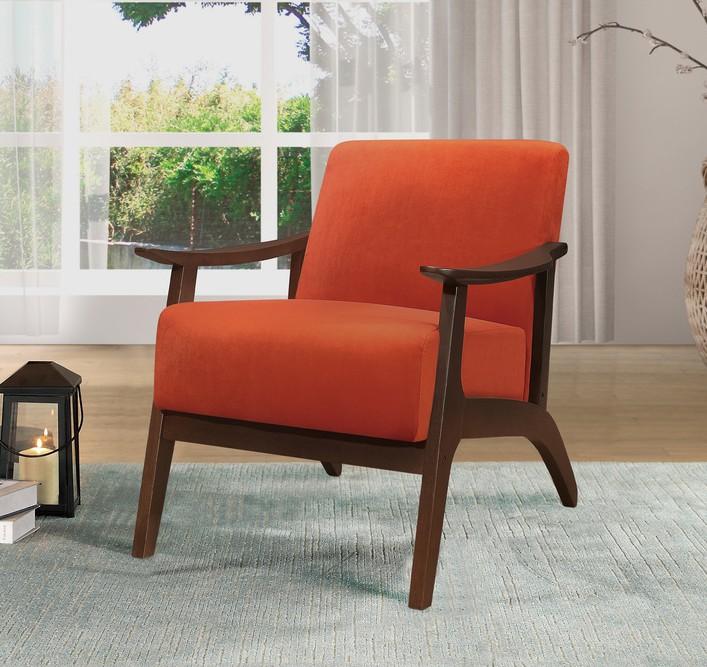 Homelegance 1032RN-1 Carlson mid century modern orange velvet fabric accent chair