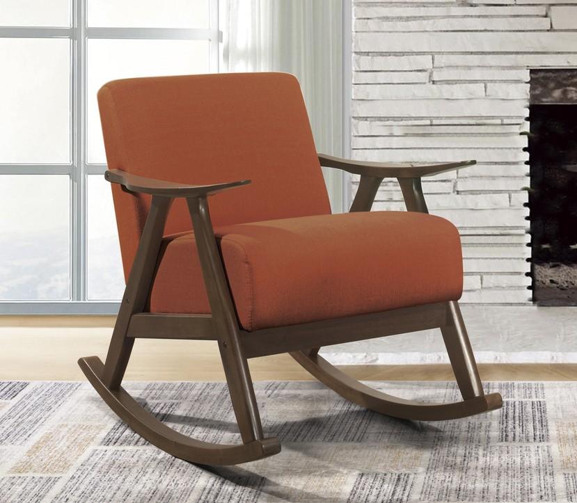 Homelegance 1034RN-1 Waithe mid century modern dark walnut finish wood orange textured fabric rocking chair
