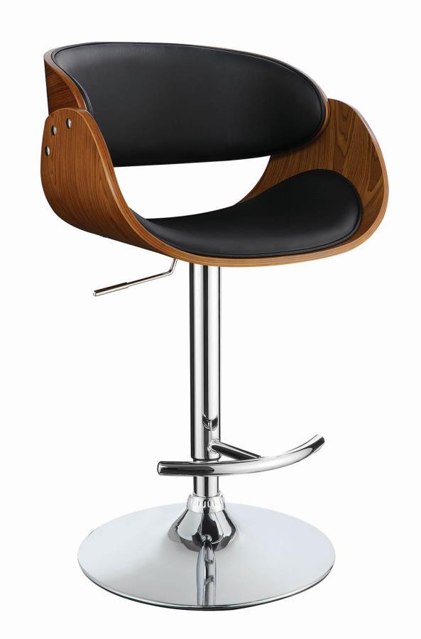 104965 Walnut finish wood black faux leather adjustable height bar stool chrome base