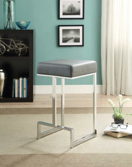 Barista collection grey leatherette and chrome metal finish frame counter height bar stool