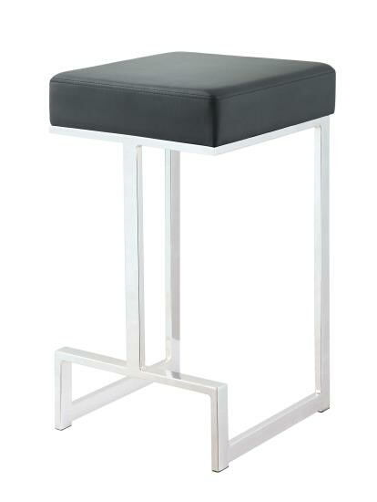 105253 Barista black leatherette chrome metal finish frame counter height bar stool