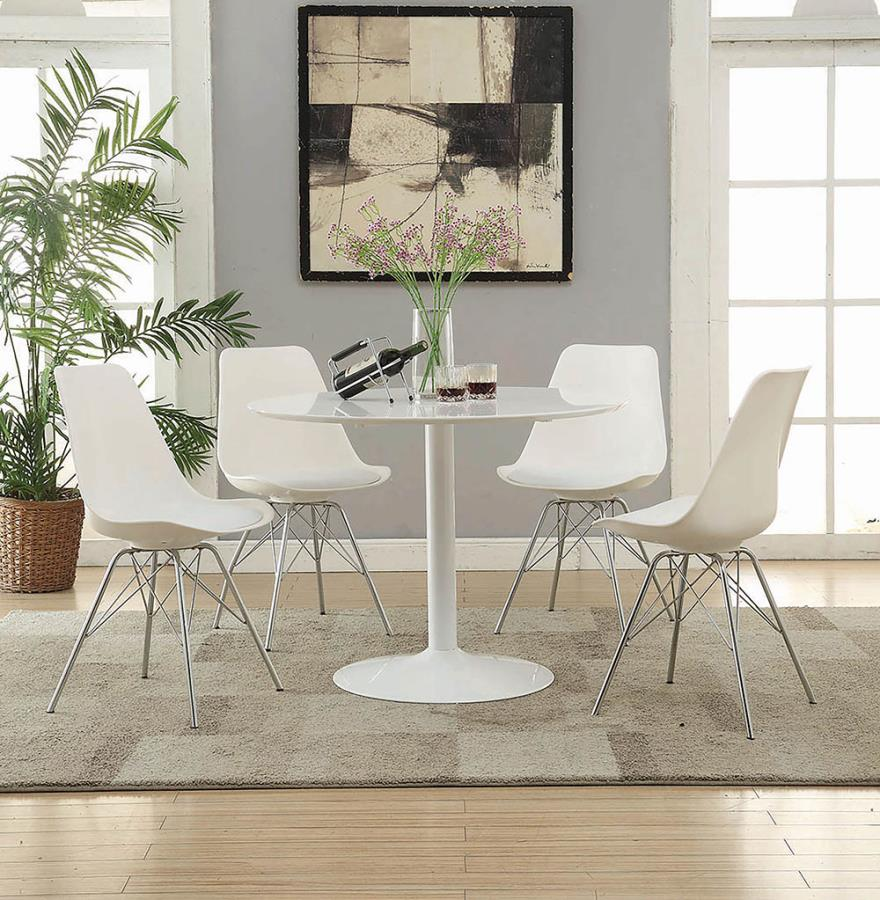 """105261A 5 pc Everett corrigan lowry white finish metal 40"""" round dining table set"""
