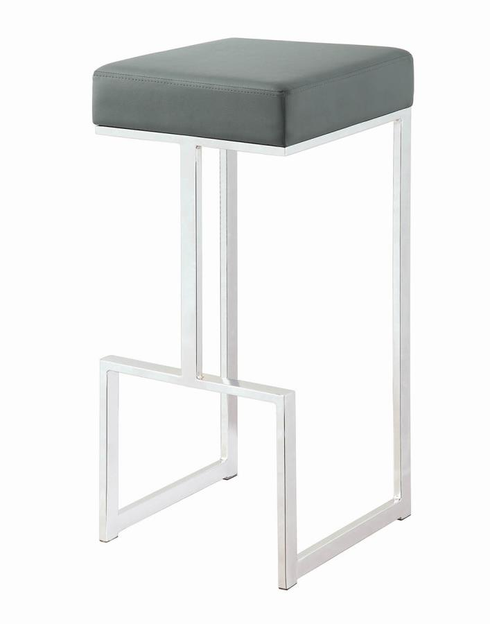 Barista collection grey leatherette and chrome metal finish frame bar stool