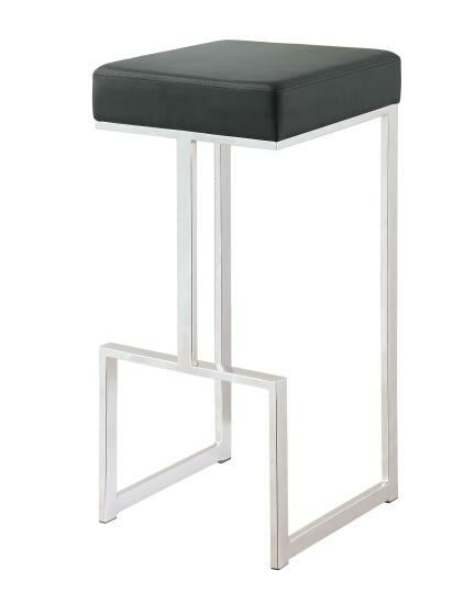105263 Barista black leatherette chrome metal finish frame bar stool