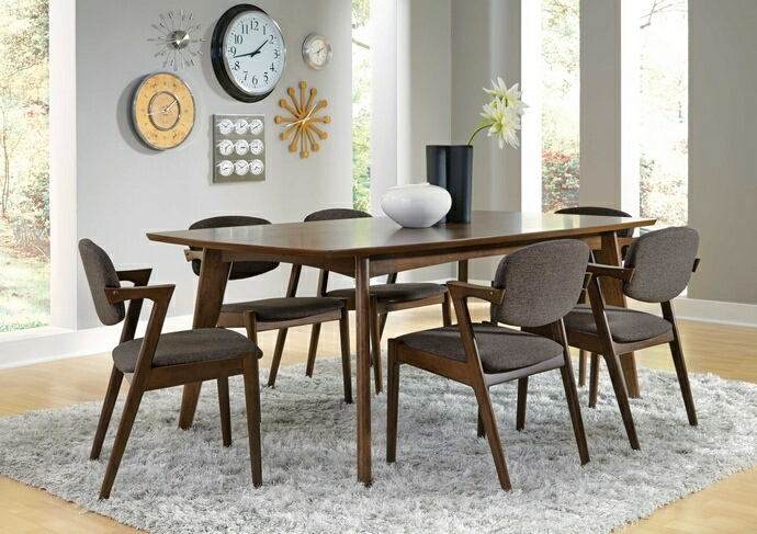 7 pc malone collection contemporary style dark walnut finish wood dining table set
