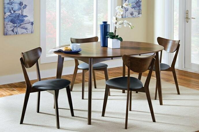 105361-62 5 pc Corrigan studio driffield malone retro modern dark walnut finish wood round / oval dining table set
