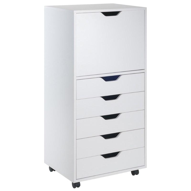 10616 Halifax 5-Drawer Mobile High Cabinet, White