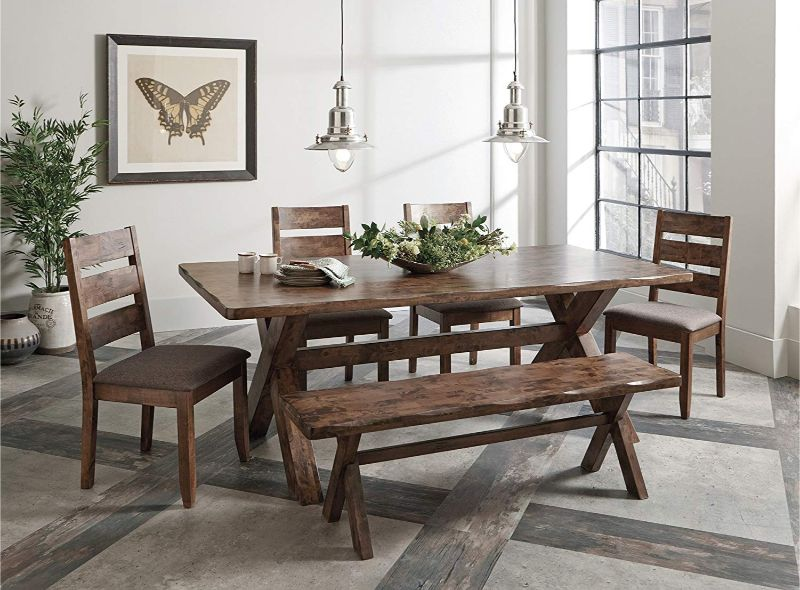 106381 6 pc Alston II knotty nutmeg finish wood natural textured look top dining table set