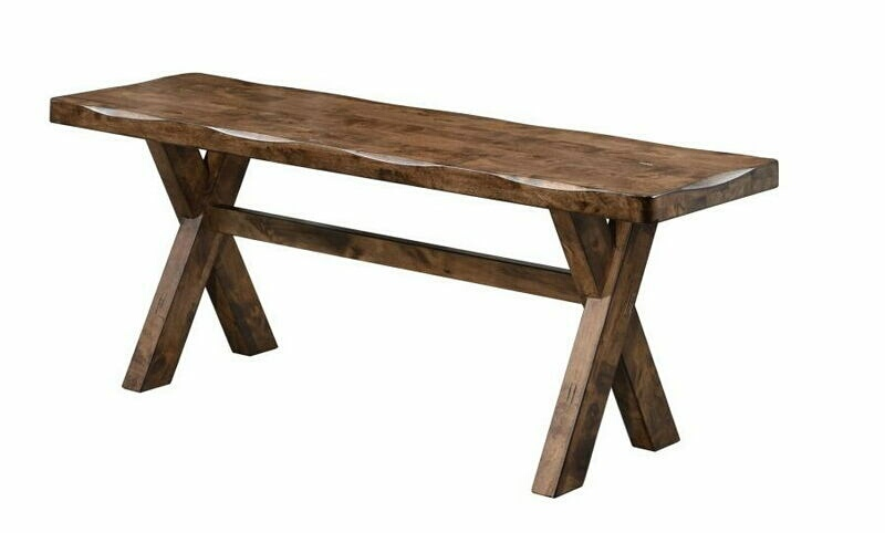 Alston II collection knotty nutmeg finish wood natural textured look natural edge bench