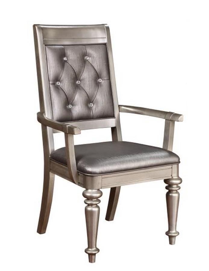 106473 Set of 2 Danette II metallic platinum finish wood metallic leatherette arm chair