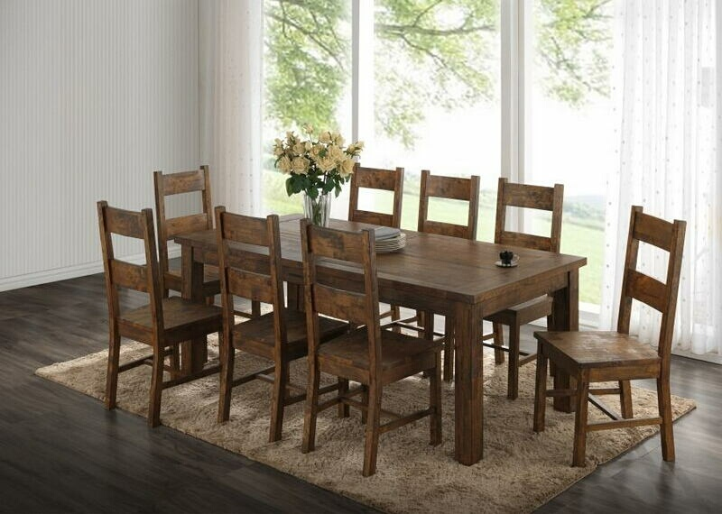 107041-42 7 pc Verus coleman rustic golden brown finish wood natural textured look top dining table set