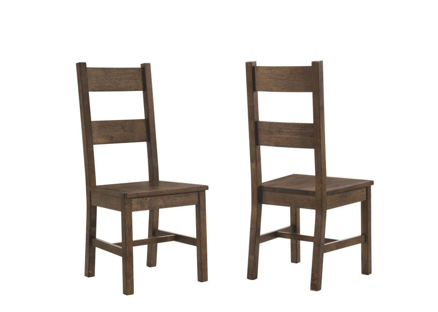 107042 Set of 2 Coleman rustic golden brown finish wood natural textured look top dining chairs