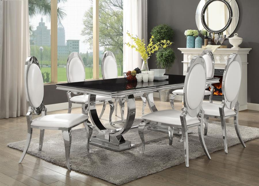 Coaster 107871-72 7 pc Antoine collection chrome metal base dining table set with black glass top