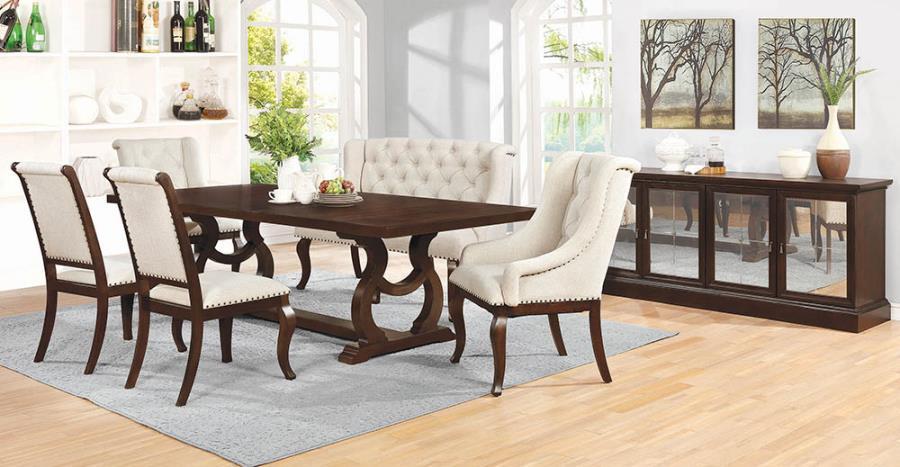 110311 7 pc Gracie oaks saybrook glen cove antique java finish wood dining table set