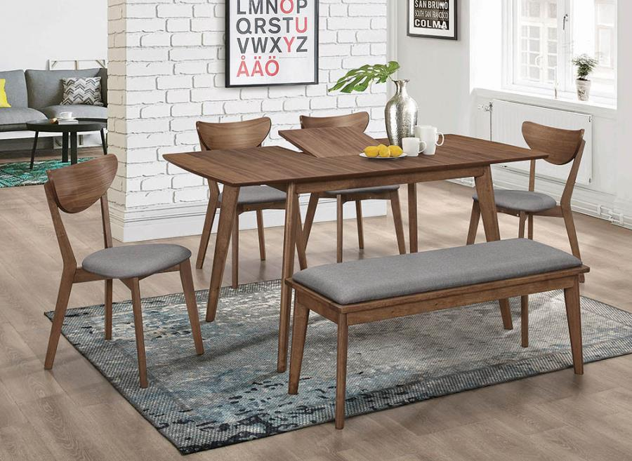 108080 6 pc George oliver fortunato mid-century modern natural walnut finish wood dining table set