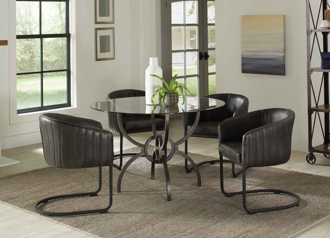 "108291 5 pc 17 stories guttenberg aviano 54"" round clear glass top gunmetal metal base dining table set"
