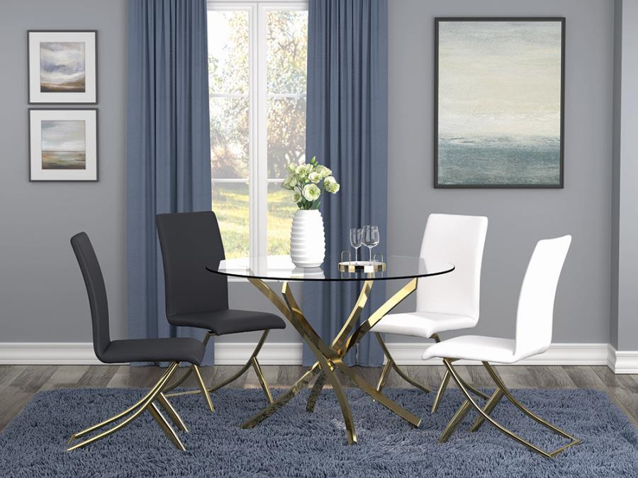 """108441 5 pc Mercer 41 axtell chanel brass metal finish 46"""" round glass top dining table set"""
