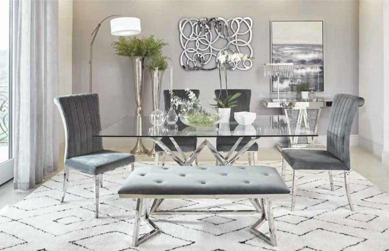 109451 6 pc Wildon home wesley beaufort chrome metal and glass top dining table set