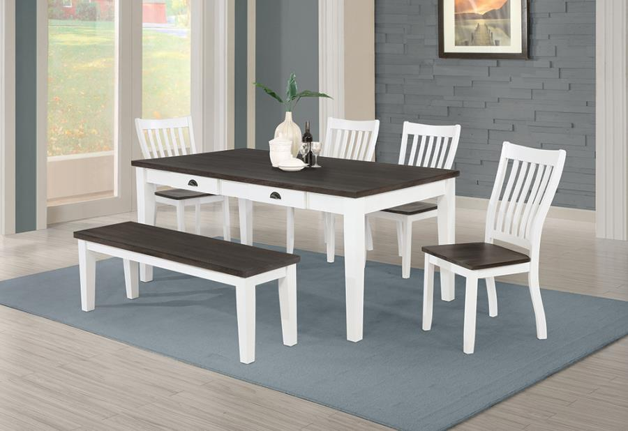 109541 6 pc Rosalind wheeler kingman espresso and white finish wood dining table set with drawers