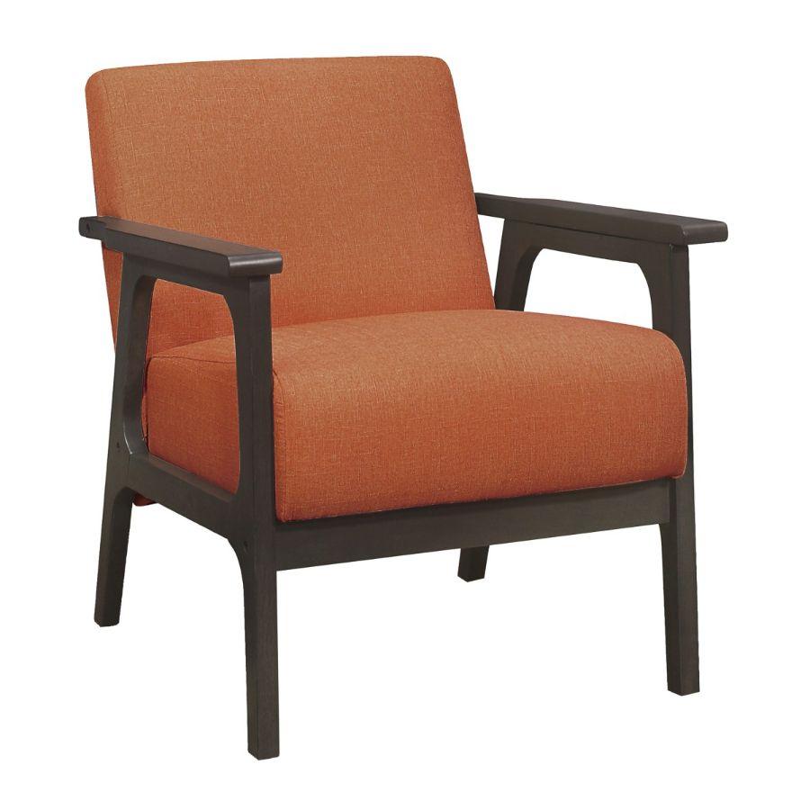 Homelegance 1103RN-1 Ocala mid century modern orange linen fabric accent chair