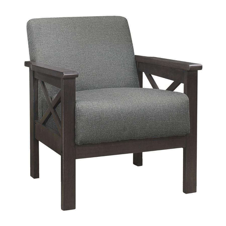 Homelegance 1105GY-1 Herriman mid century modern gray linen fabric accent chair