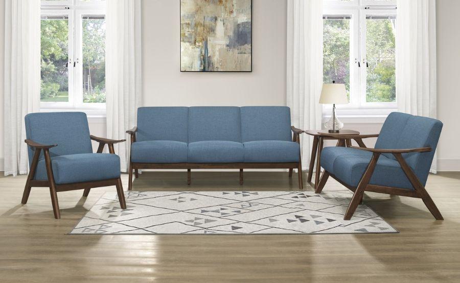 Homelegance 1138BU-3PC 3 pc Damala mid century modern blue linen like fabric sofa, love seat and chair set
