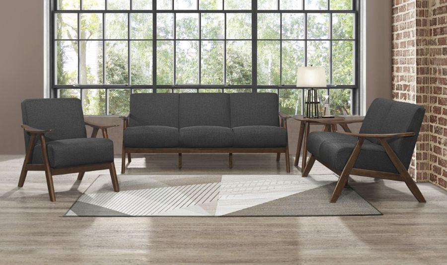 Homelegance 1138DG-3PC 3 pc Damala mid century modern dark grey linen like fabric sofa, love seat and chair set