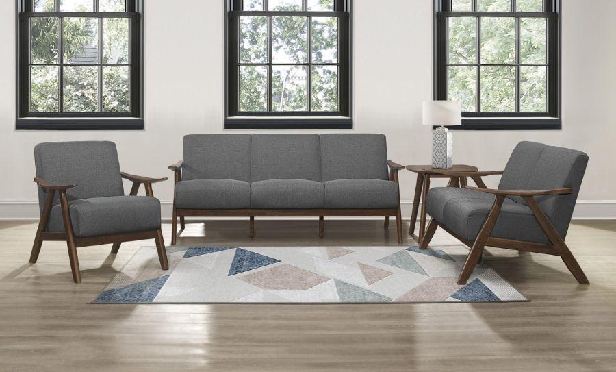 Homelegance 1138GY-3PC 3 pc Damala mid century modern grey linen like fabric sofa, love seat and chair set