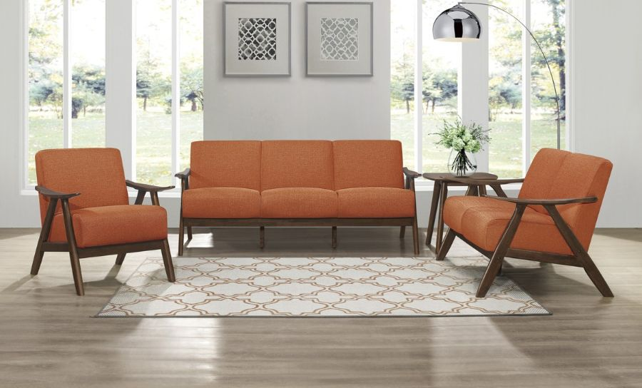 Homelegance 1138RN-3PC 3 pc Damala mid century modern orange linen like fabric sofa, love seat and chair set
