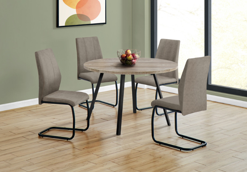 """DINING TABLE - 48""""DIA/ TAUPE RECLAIMED WOOD / BLACK METAL"""